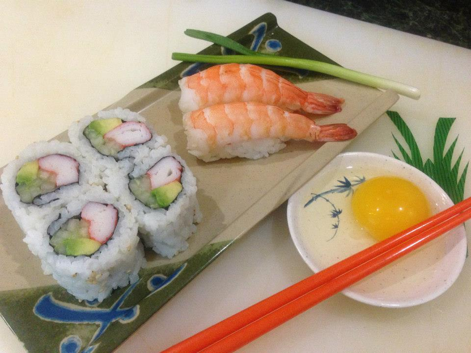 California Roll & Ebi (shrimp) sushi