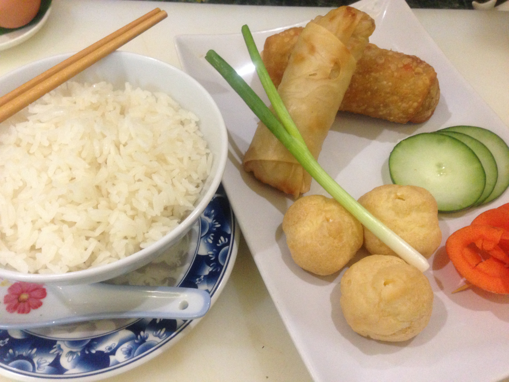 In the pic: spring roll, egg roll and cream puffs