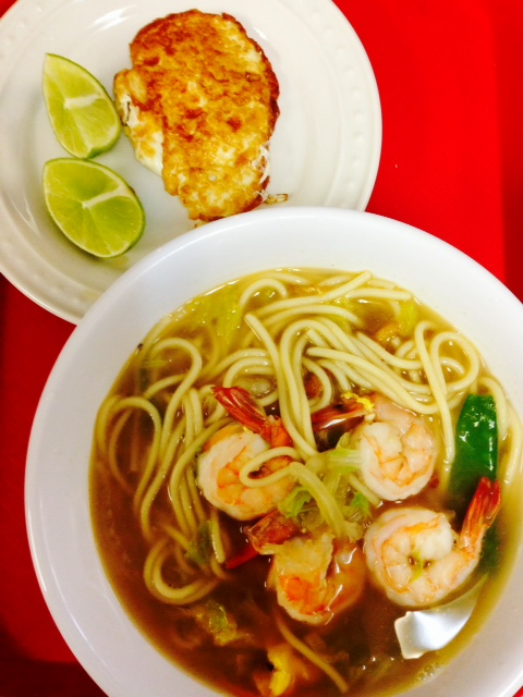 Pan Egg and Seafood Noodle Soup