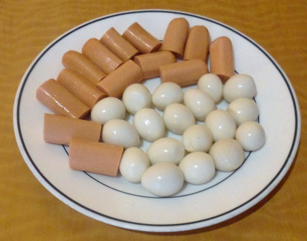 Quail Eggs and Hot Dog Sausage